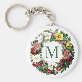 Vintage Floral Wreath Monogram Basic Round Button Key Ring