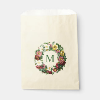 Vintage Floral Wreath Monogram Favour Bags