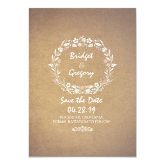 Vintage Floral Wreath Save the Date Invitations