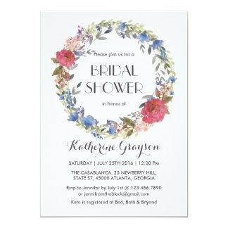 Vintage Floral Wreath Spring Wedding Invitation