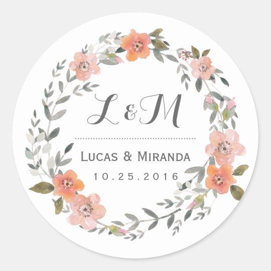Vintage Floral Wreath Wedding Favour Sticker