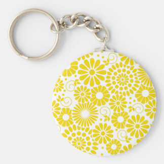 Vintage floral yellow Keychain