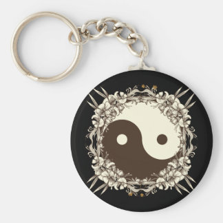 Vintage Floral Yin Yang Basic Round Button Key Ring