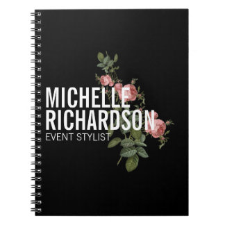 Vintage Florals Bold Text on Black Personalized Spiral Notebook