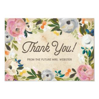 Vintage Florals | Bridal Shower Flat Thank You 9 Cm X 13 Cm Invitation Card