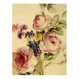 Vintage Florals from 18th Century Postcard
