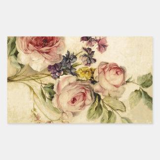 Vintage Florals from 18th Century Rectangular Sticker
