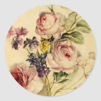 Vintage Florals from 18th Century Round Sticker