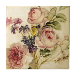 Vintage Florals from 18th Century Small Square Tile