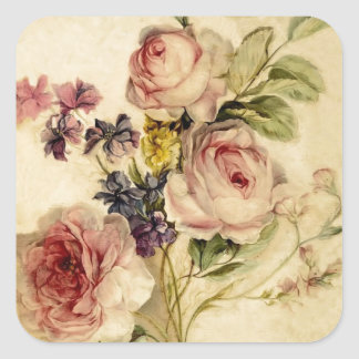 Vintage Florals from 18th Century Square Sticker