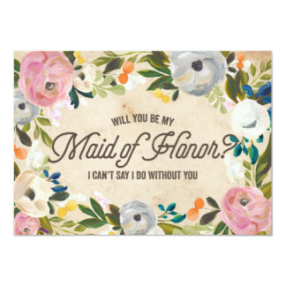 Vintage Florals   Maid of Honor Card