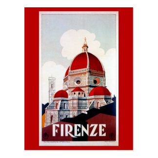 Vintage Florence Italian travel poster Postcard