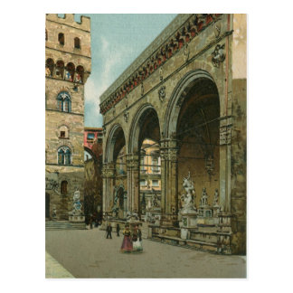 Vintage Florence watercolor Loggia dei Lanzi Postcard