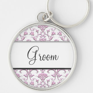 Vintage Florentine Damask (Pink) (Wedding) Silver-Colored Round Key Ring