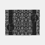 Vintage Florentine Damask (White) (Monogram) Fleece Blanket