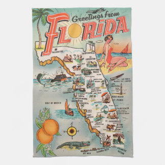 Vintage Florida map of attractions Tea Towel