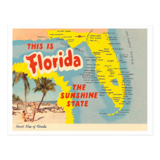 Vintage Florida Map Postcard