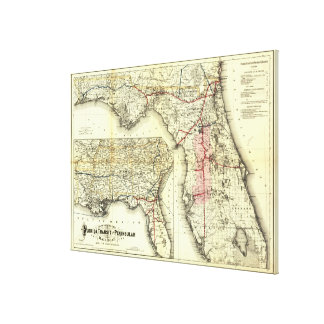 Vintage Florida Railroad Map (1882) Stretched Canvas Print