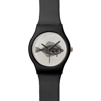 Vintage Flounder Fish Aquatic Fishes Template Wrist Watch