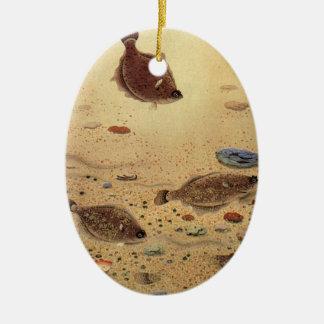 Vintage Flounders, Marine Ocean Life Flat Fish Ceramic Oval Decoration
