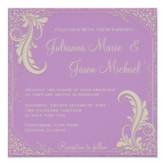 Vintage Flourish African Violet Purple Invitation