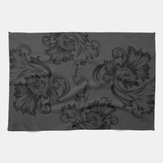 Vintage Flourish (Black) Tea Towel