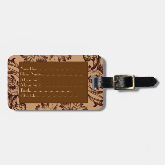 Vintage Flourish (Dark Brown) Luggage Tag