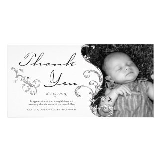 Vintage Flourish New Baby Thank You Card Custom Photo Card