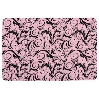 VINTAGE FLOURISH PATTERN, Pink & Black Floor Mat