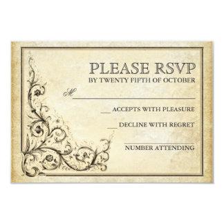 Vintage flourish swirls wedding RSVP cards 9 Cm X 13 Cm Invitation Card
