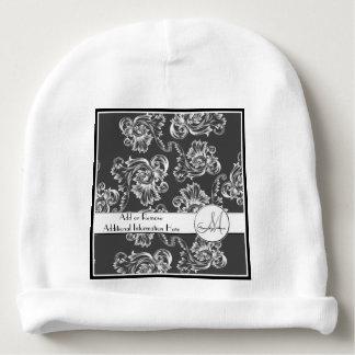 Vintage Flourish (White) (Monogram) Baby Beanie