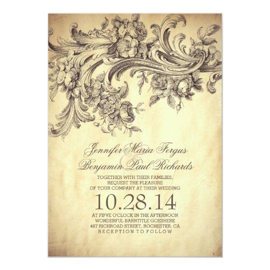 Vintage Flourishes Elegant and Luxury Wedding Card