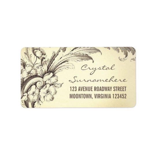 vintage flourishes wedding address labels