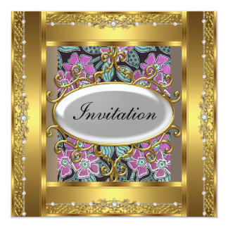 Vintage Flower and Gold  Birthday Party Invitation