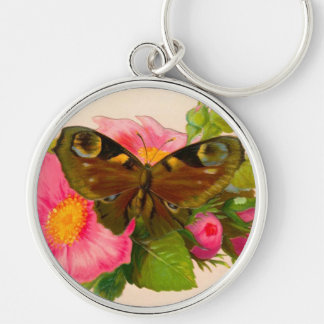 Vintage Flower and Moth Silver-Colored Round Key Ring