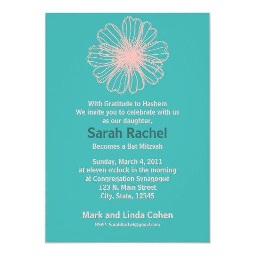 """Vintage Flower Aqua Invitation 5"""" X 7"""" Invitation Card"""