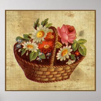 Vintage Flower Basket  Poster