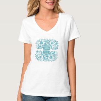 Vintage Flower Basket Shirt Celadon Blue