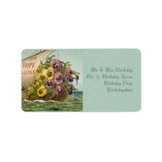 Vintage Flower Boat Address Label
