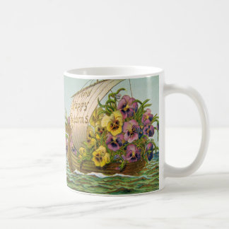 Vintage Flower Boat Basic White Mug