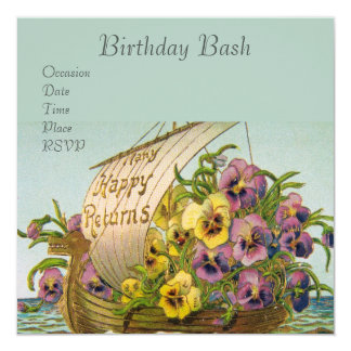 Vintage Flower Boat 13 Cm X 13 Cm Square Invitation Card