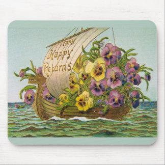 Vintage Flower Boat Mouse Pad