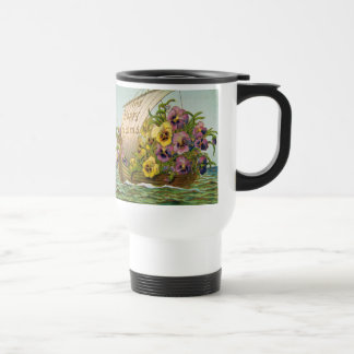 Vintage Flower Boat Stainless Steel Travel Mug