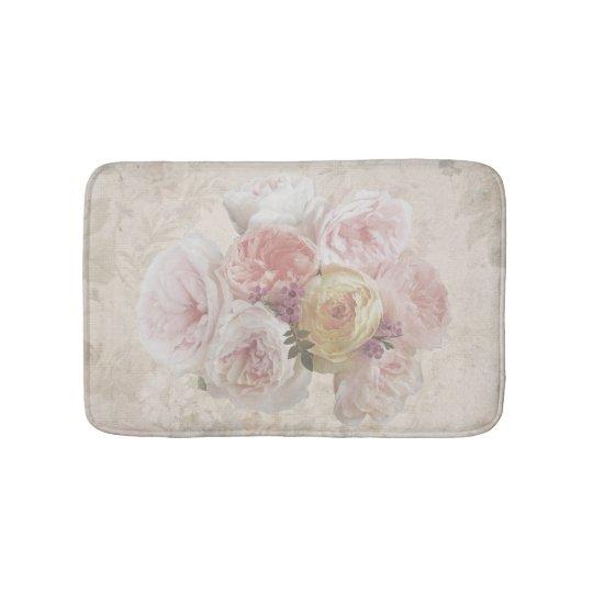 Vintage Flower Bouquet Creamy Bath Mat