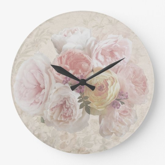 Vintage Flower Bouquet Elegant Wall Clock