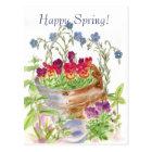 Vintage Flower Bucket Bouquet Happy Spring Postcard