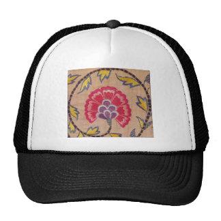 Vintage Flower Embroidery Woven Textile Pink Linen Trucker Hat
