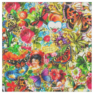 Vintage Flower Garden Colorful Butterfly Floral Fabric