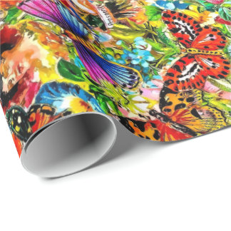 Vintage Flower Garden Colorful Butterfly Floral Wrapping Paper