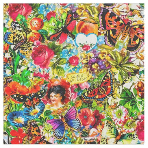 Vintage Flower Garden Colourful Butterfly Floral Fabric